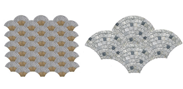Mozaika granitowa wachlarz