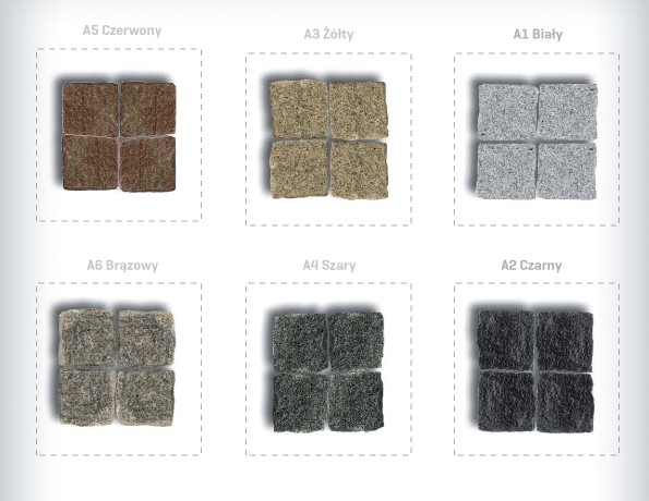 Mozaika granitowa kolory